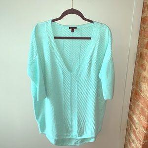 Express v-neck sweater - turquoise